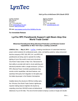 LynTec RPC Panelboards Support Light Beam Atop One World