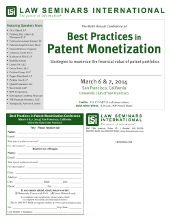 Best Practices in Patent Monetization