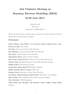 2nd Chalmers Meeting on Runaway Electron Modelling (REM