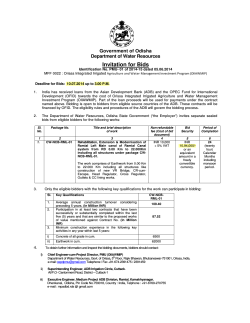 Invitation for Bids - Deptt. of Water Resources, Odisha