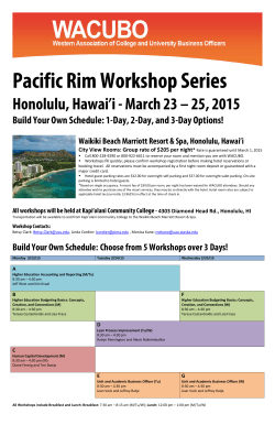 Pacific Rim Workshop Series
