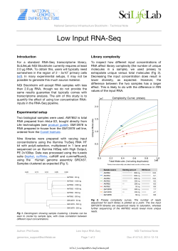 Technical note: Low input RNA-Seq