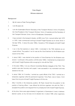 Statement of Peter Biagini dated 20 August 2014 [PDF 86KB]
