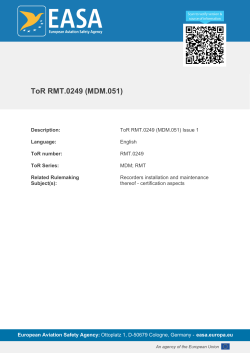 ToR RMT.0249 (MDM.051) Issue 1 - EASA