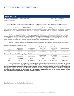 PRESS RELEASE Royce Micro-Cap Trust, Inc. (NYSE-RMT