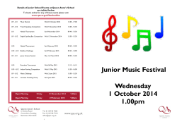 Wednesday 1 October 2014 1.00pm Junior Music Festival