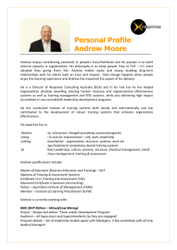 Personal Profile Andrew Moore - Response Consulting Australia