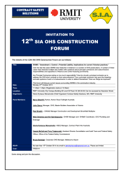 SIA OHS CONSTRUCTION FORUM