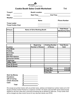 Cookie Booth Sales Credit Worksheet T-4