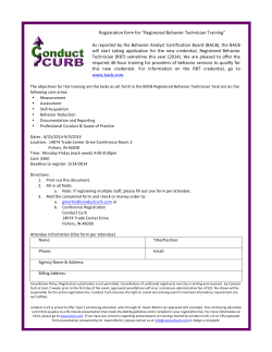 "Registration form for ""Registered Behavior Technician Training"" As"