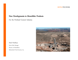New Developments in Monolithic Products
