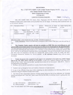 No.- lTBP/ RTC KIMIN / OM/ Limited Tender Enquiry 114-15