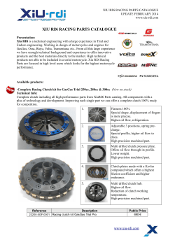 XIU RDi RACING PARTS CATALOGUE