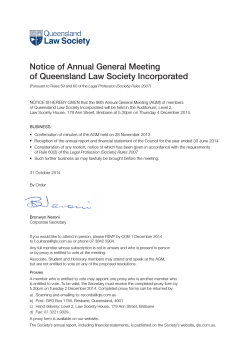 QLS Notice of Annual General Meeting of Queensland Law Society