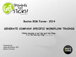 2014 GENERATE COMPANY SPECIFIC WORKFLOW TRAINIG