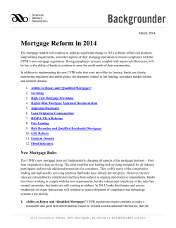 Mortgage Reform in 2014 - American Bankers Association