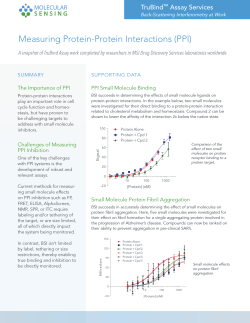 Measuring Protein-Protein Interactions (PPI)