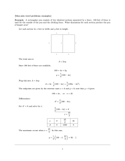 [Max-min word problems examples] Example. A rectangular pen