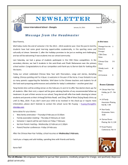 NEWSLETTER - The Léman International School