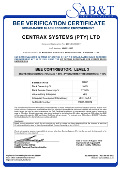 BEE Certificate - Centrax Systems