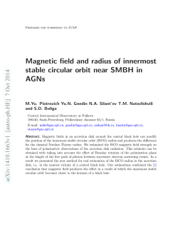 Magnetic field and radius of innermost stable circular