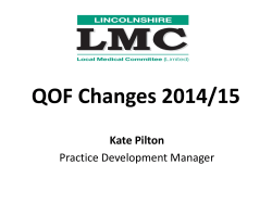 Lincolnshire LMC Presentation on Qof Changes 2014-15