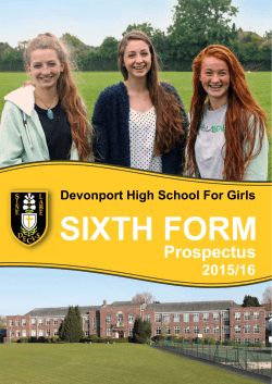 DHSG Sixth Form Prospectus for entry in 2015-2016
