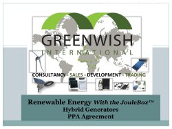 Renewable Energy With the JouleBox™ Hybrid Generators PPA