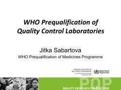 WHO Prequalification of Quality Control Laboratories