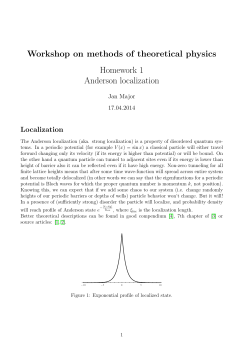 Workshop on methods of theoretical physics Homework 1 Anderson