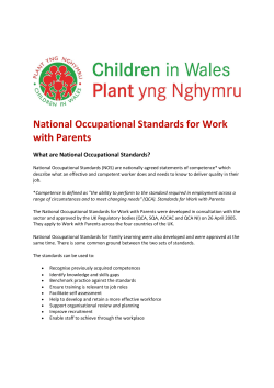 National Occupational Standards for Work with