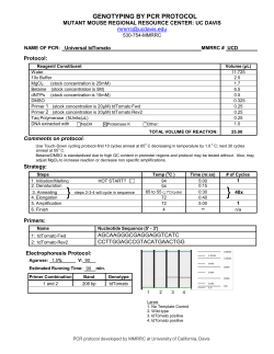 GENOTYPING BY PCR PROTOCOL FORM