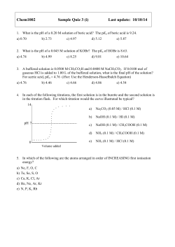 Chem1002 Sample Quiz 3 (i) Last update: 10/10/14