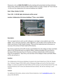 Please join us for an OHSU-PSU OMPH Faculty meeting with