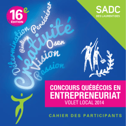 VOLET LOCAL 2014 - SADC Laurentides
