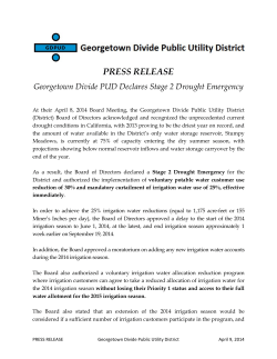 PRESS RELEASE - Georgetown Divide Public Utility District