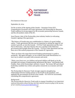092614 - PRT Press Release - Partnership for Resource Trade