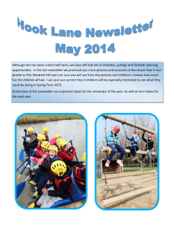 May 2014 Newsletter - Hook Lane Primary School