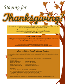 Thanksgiving Holiday Resident Information