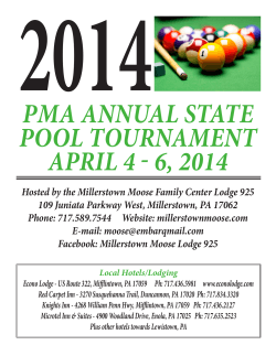 PMA ANNUAL STATE POOL TOURNAMENT APRIL 4