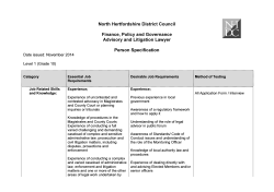 Person Specification - North Hertfordshire District Council