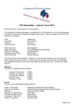Web PFA Letter – Autumn term 2014