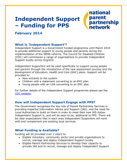 Independent Support – Funding for PPS