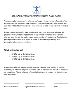PAA Pain Management Prescription Refill Policy