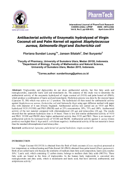 Antibacterial activity of Enzymatic hydrolyzed of Virgin Coconut oil