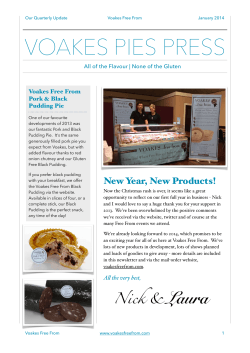Voakes Pies Newsletter Jan 2014