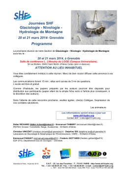 Programme - shf societe hydrotechnique de france