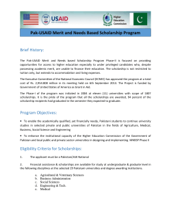 Pak-USAID Merit and Needs Based Scholarship Program