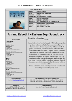 Arnaud Rebotini – Eastern Boys Soundtrack