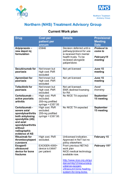updated NTAG work plan - Northern Treatment Advisory Group